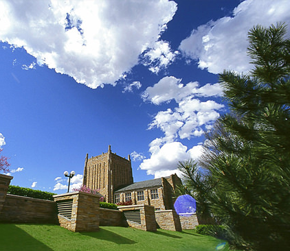 McFarlin viewed from the northwest under a bright blue sky